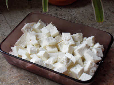 Paneer pieces are ready