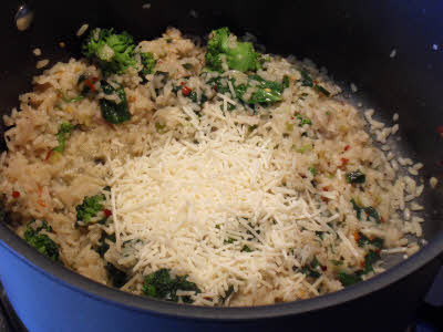 Add cheese to vegetable risotto