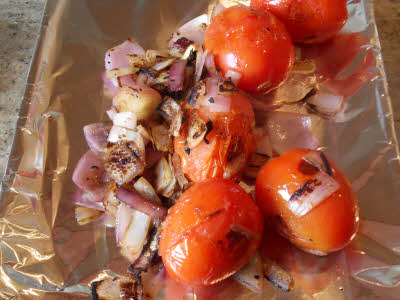 Bake onion, tomato, garlic for roasted tomato chutney