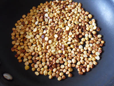 Dry roast chana dal for coconut chutney