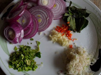 Prepare the vegetables for roti paranta dip