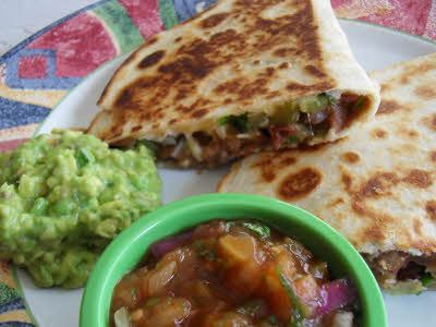 Vegetable quesadilla is ready