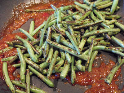 Preparing Schezwan Green Beans