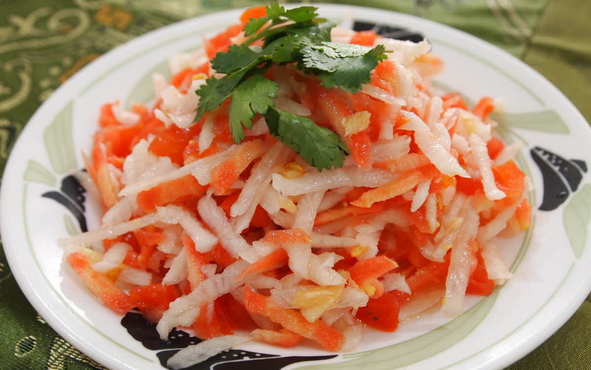 Radish, Carrot, Tomato Salad