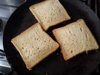 Cook bread slices