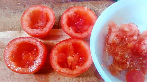 hollow the tomatoes