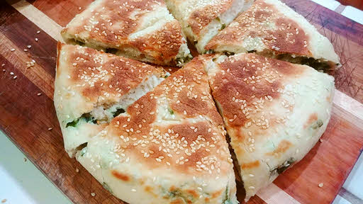 Chinese Bread with Sesame Seeds & Scallions is ready
