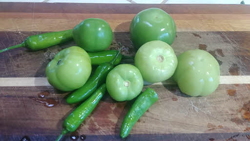 Wash tomatillos and peppers