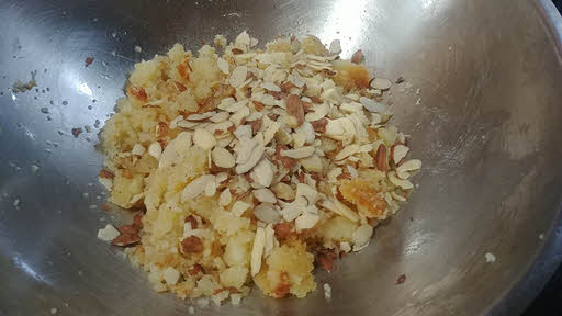 Add chopped nuts, cardamom powder and sugar
