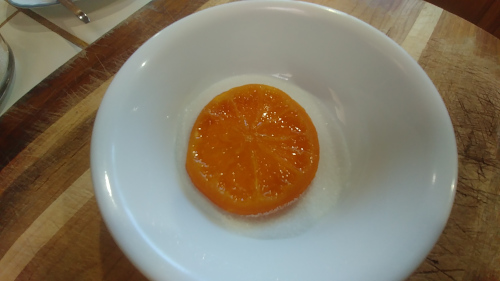 Coat the orange slices
