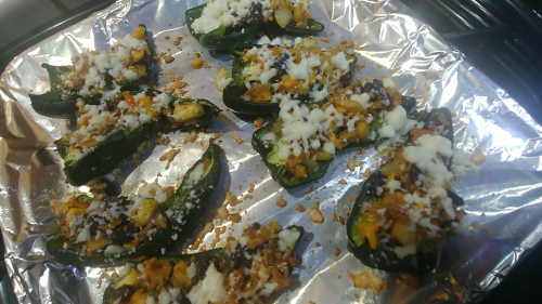 Mexican style Stuffed Poblano Peppers are ready to serve